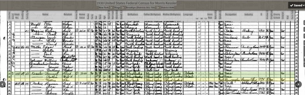 1930 Census for Morris Kessler
