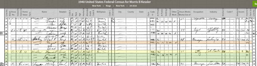 1940 Census for Morris Kessler
