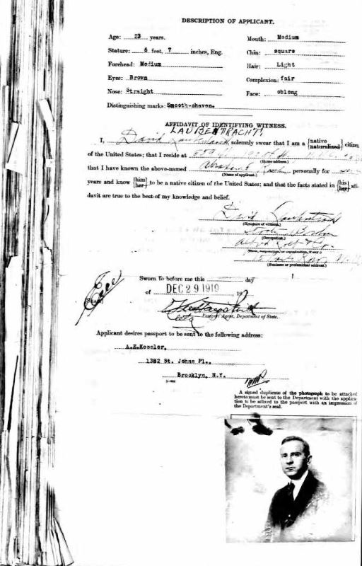 Abe's Passport 1919