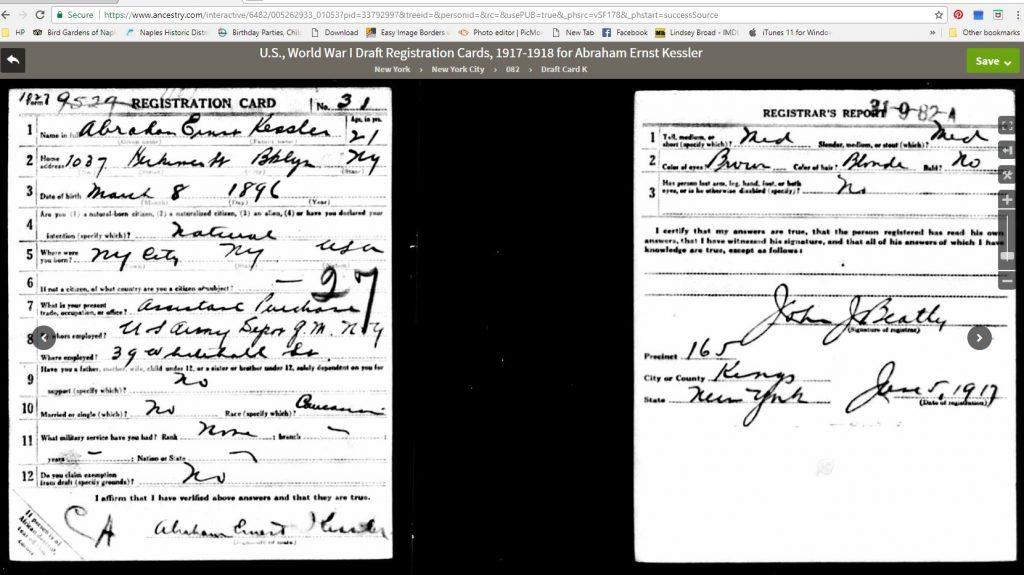 Abe's Draft Card 1917-1918