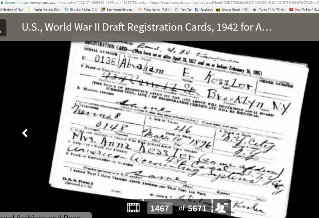 Abe's WWII Draft Card - 1942