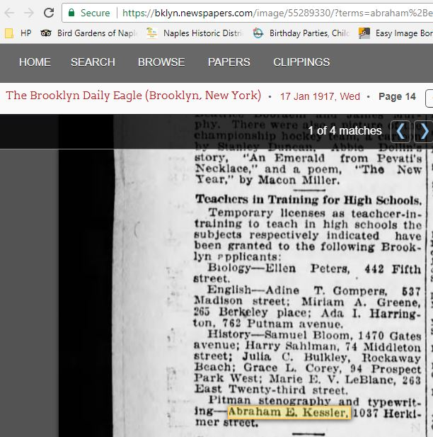 Abe Is Listed as a Teacher-in-Training in Brooklyn Daily Eagle Jan. 1917