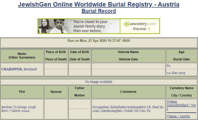 Bernhardt Charipper Burial Informaion