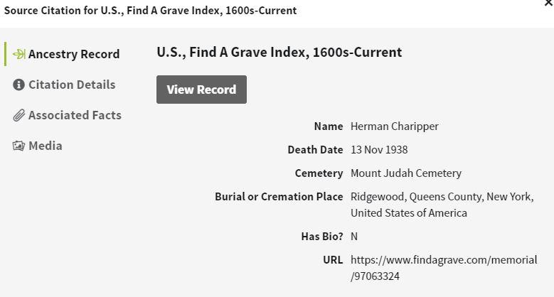 Herman Charipper Burial Information