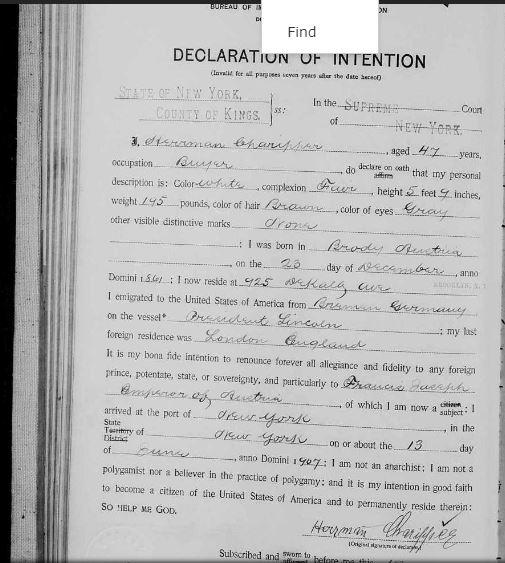Herman Charipper - 1907 Declaration of Naturalization Intent