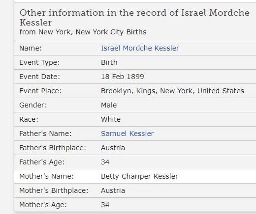 Israel Kessler Birth Record