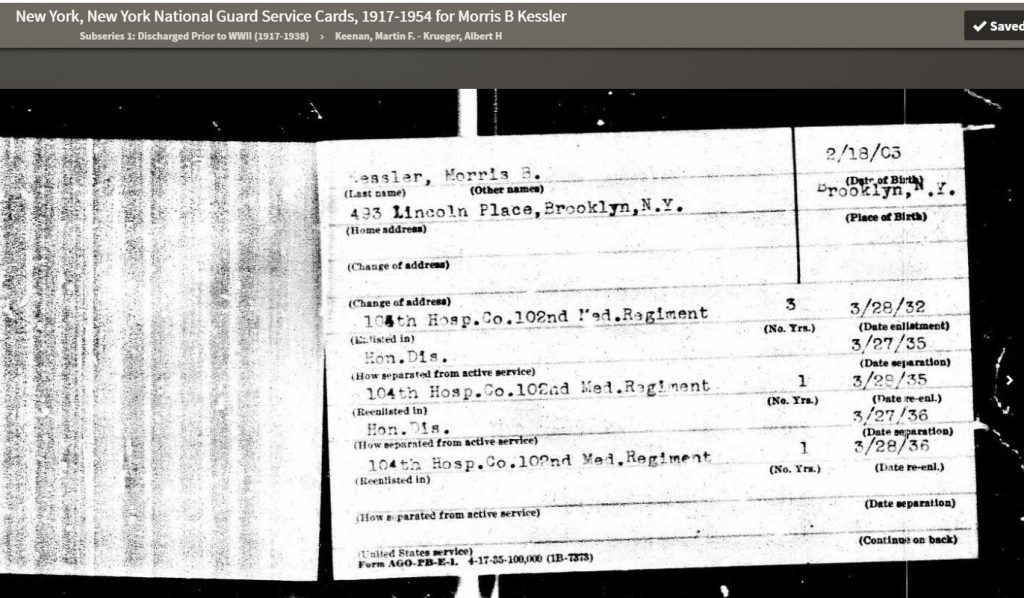 Morris' National Guard Enlistment Record