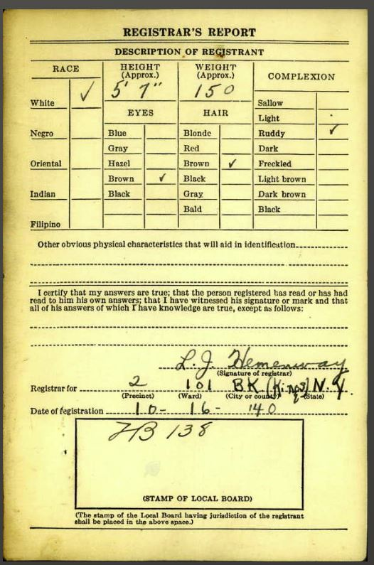 Morris' WWII Draft Card - back