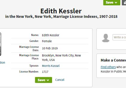 Wedding index of Edith and Morris Kassel