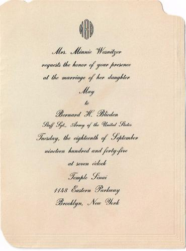 The invitation to May and Bernie's wedding
